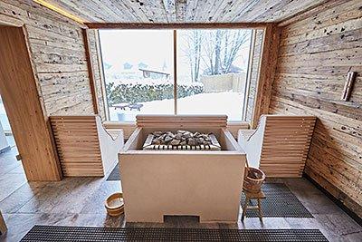 Panorama Aufguss Sauna unseres 4 Sterne Wellnesshotel im Bayerischen Wald