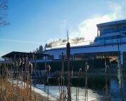 Dampfender Aussenpool unseres 4 Sterne Wellnesshotel im Bayerischen Wald